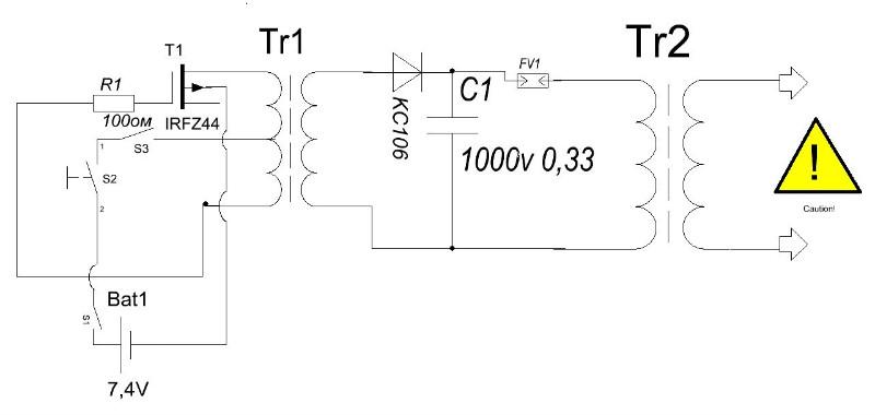 Инвертер для электрошокера на UC3845 - Схемы электрошокеров - Статьи к 37