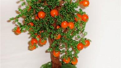 Мастер класc дерево апельсин из бисера