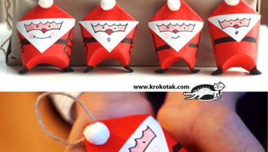 Елочные игрушки Дед Мороз из бумаги