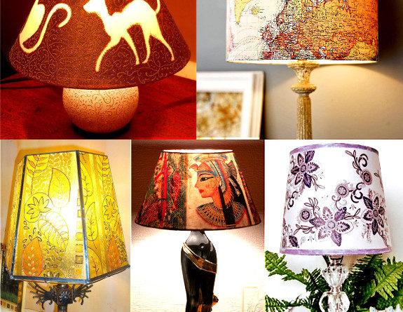 Декорирование абажура настольной лампы