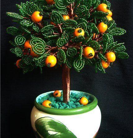 Мастер-класс: апельсиновое дерево из бисера