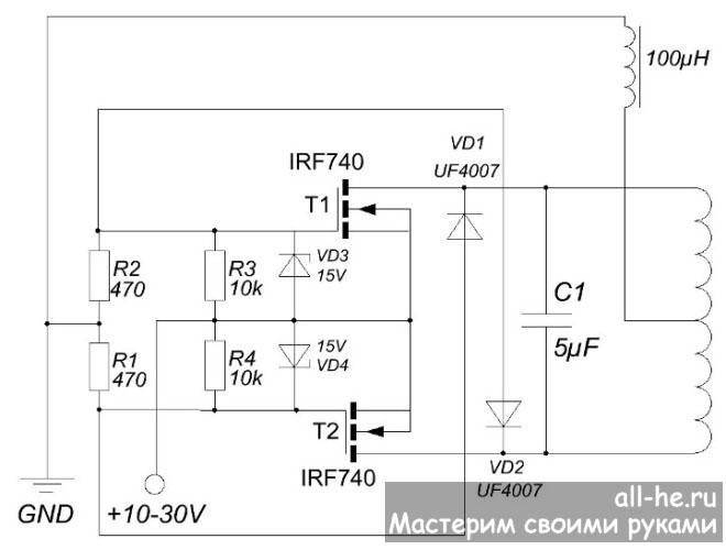 Мощный индукционный нагреватель своими руками схема 3