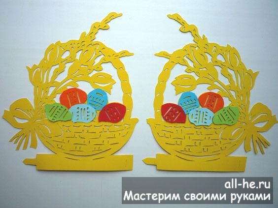 Контурная открытка «Пасхальная корзина»